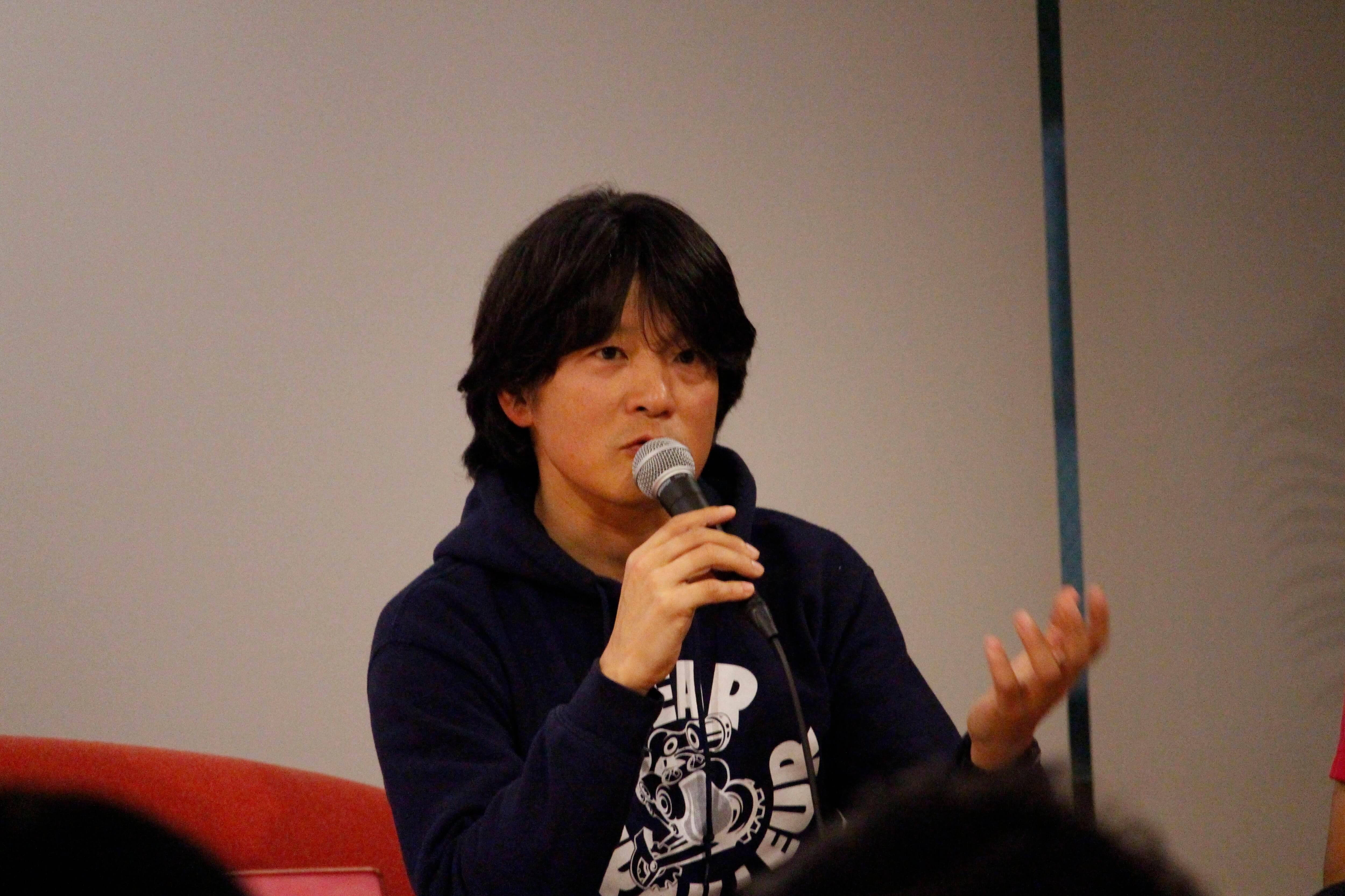 講演するFaber Company中山