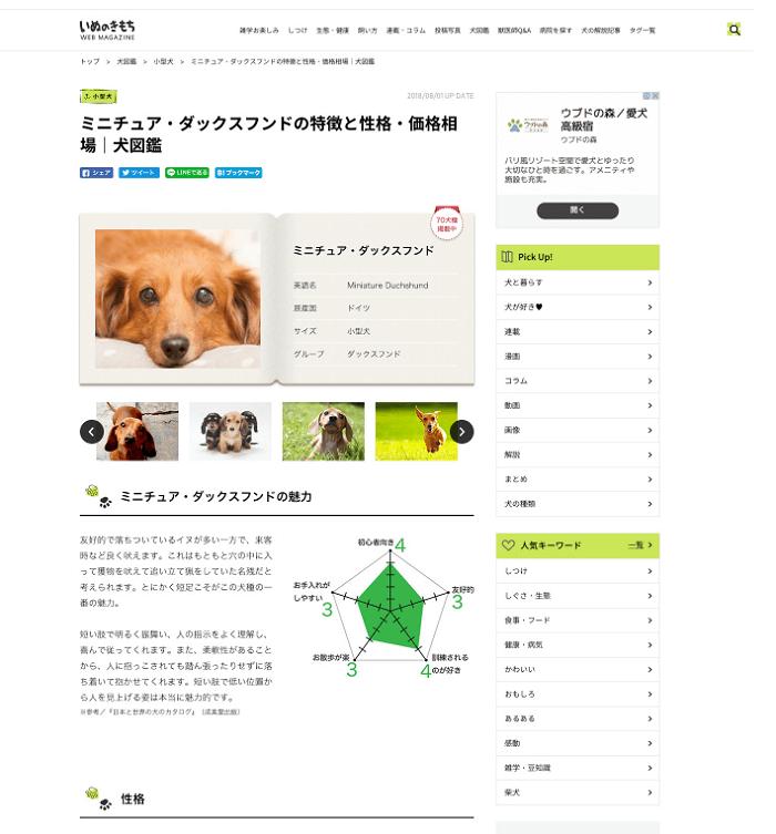 犬図鑑(ミニチュア・ダックスフント)のサイト画像