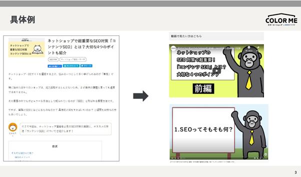 テキストコンテンツを動画コンテンツにした具体例