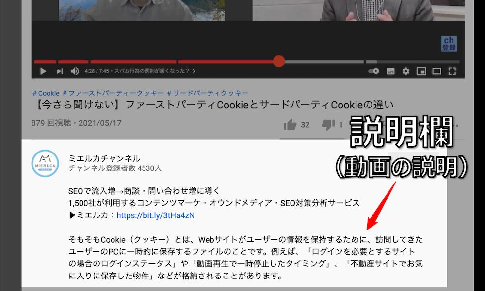 youtubeの説明欄