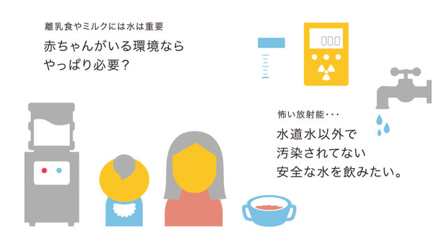 離乳食やミルクには水は重要赤ちゃんがいる環境ならやっぱり必要? 怖い放射能・・・水道水以外で汚染されてない安全な水を飲みたい。