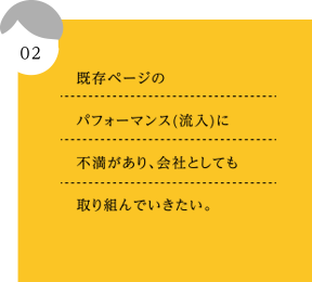 02.既存ページのパフォーマンス(流入)に不満があり、会社としても取り組んでいきたい。