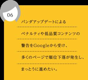 06.パンダアップデートによるペナルティや低品質コンテンツの警告をGoogleから受け、多くのページで順位下落が発生し、まっとうに進めたい。